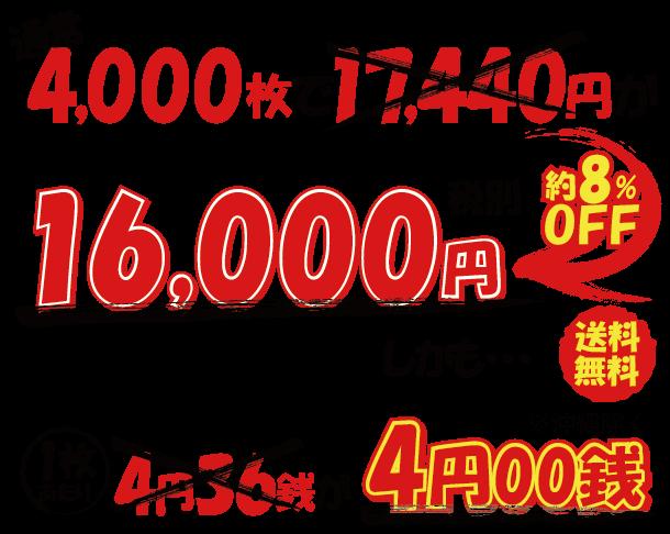 4,000枚で1枚あたり4.00円です。通常よりも約8%も安いんです。4,000枚あたりの価格は16,000円です。税込で送料も無料です。※沖縄除く